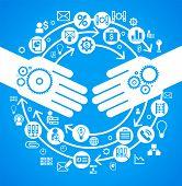 el concepto del movimiento de información en la empresa moderna. mano del hombre,