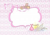 stock photo of eyeleteer  - Pink frame for baby girl with toy blocks and stork on eyelet background - JPG