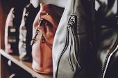 Fashion Trend Handbags On Shelf In A Store, Shop. Fall, Autumn Sale, Trend, Shopping, Accessories Co poster