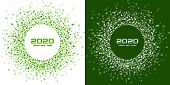 New Year 2020 Night Background Party Set. Greeting Cards. Green Glitter Paper Confetti. Glistening F poster