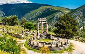 Temple Of Athena Pronaia At Delphi. Unesco World Heritage In Greece poster