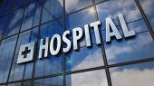 Hospital Glass Building. Mirrored Sky And City On Modern Facade. Health, Clinic, Emergency, Healthca poster