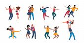 Dancing Couples. Cartoon Trendy Pairs Performing Dance At Choreography School, Flat Men And Women Ch poster