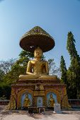Throne That The Buddha Sit When He Became Enlightened In Wat Paa Jareon Tham At Chiangmai, Thailand