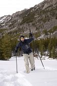 stock photo of beartooth  - snowshoeing up the lake fork in montana - JPG