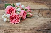 Bouquet Roses On Wooden Background