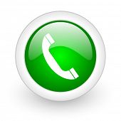 phone green circle glossy web icon on white background