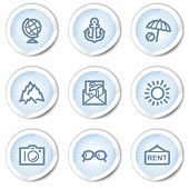 Travel web icons set 5, light blue stickers