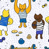 Funny cartoon bodybuilder cats seamless pattern, vector
