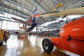 MOSCOW - SEP 22: Repair of tail of passenger aircraft Aeroflot in hangar of airport Sheremetyevo on