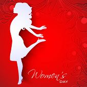 Happy Women's Day greeting card or background with white silhouette of a happy women on red floral decorative background..