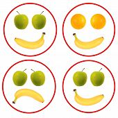 Fruit Faces Isolated Over White - Banana, Oranges, Apples