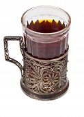 stock photo of melchior  - hot black tea in vintage glass with nickel silver glass - JPG