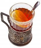 picture of melchior  - black tea with lemon in vintage glass with spoon and glass holder isolated on white background - JPG