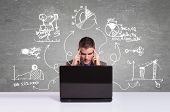 image of thinking  - Business man working with laptop and thinking about  new projects - JPG
