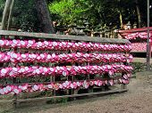 Heart Shaped Ema Plaques ( Wish Plaques ) At Shrine In Kyoto, Japan