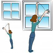 Ein Bild einer Frau Wetter proofing Schaumstoff Klebeband in einem Fenster setzen.