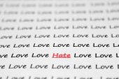 The Word Hate, Love Written Closeup.