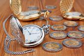 Relógio de bolso de grupo no contexto das moedas de Euro.