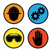 image of workplace safety  - Four icons depicting warnings for factory  - JPG