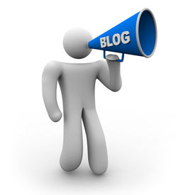 pic of blog icon  - A blogger holds a bullhorn with the word blog on it - JPG