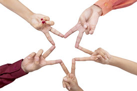 picture of star shape  - Five hands making a star shape on white background - JPG