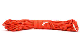 stock photo of paracord  - red twisted paracord isolated on white background - JPG