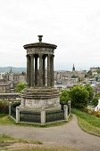 The Dugald Stewart Monument And The City Of Edinburgh In The Background