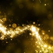 image of starry night  - Gold glittering stars dust trail background - JPG