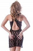 pic of negligee  - Curly girl posing in black lacy negligee back to camera - JPG