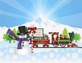 Santa On Train With Snow Scene