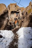 stock photo of tabriz  - Unusual famous village Kandovan in northern Iran - JPG