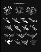 vintage retro  labels with eagle, wings,shoes,skull vector