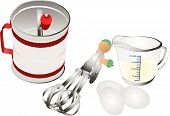picture of flour sifter  - Retro baking utensils with measuring cup sifter and hand beater illustration over white - JPG