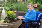 stock photo of wheelchair  - A happy elderly woman in an assisted - JPG