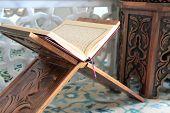 pic of namaz  - Quran and wood lectern close up image - JPG