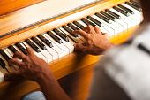 A Man Playing Piano, Closeup Shot