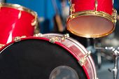 image of drum-kit  - Red colored drum kit in recording studio - JPG