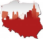 Poland map in flag colors and symbols of business and history of state