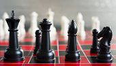 Red Black Chess Board Game Pieces King Queen Bishop Knight