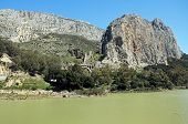 Gorge and reservoir, El Chorro, Spain.