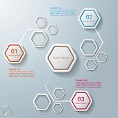 Colorful Abstract Hexagons Infographic 3 Options