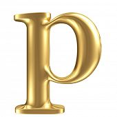 Golden matte lowercase letter p, jewellery font collection
