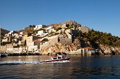 HYDRA, GREECE - SEP 25: View of Hydra town in Sep 25, 2012 in Hydra, Greece. Hydra island 20.1 sq mi