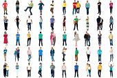 picture of diversity  - Set of trendy people isolated on white background - JPG
