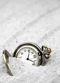 image of wind up clock  - Antique pocket watch buried in sand - JPG