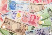 stock photo of won  - Background of asian currency  - JPG