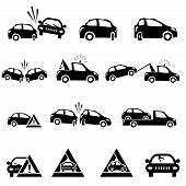 picture of rear-end  - Icons set of car accident - JPG