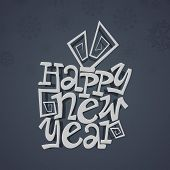 Happy New Year 2014 celebration poster, banner or flyer design with stylize text on dark grey backgr