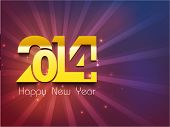 Happy New Year 2014 celebration party poster, banner or invitations with golden stylize text 2014 on